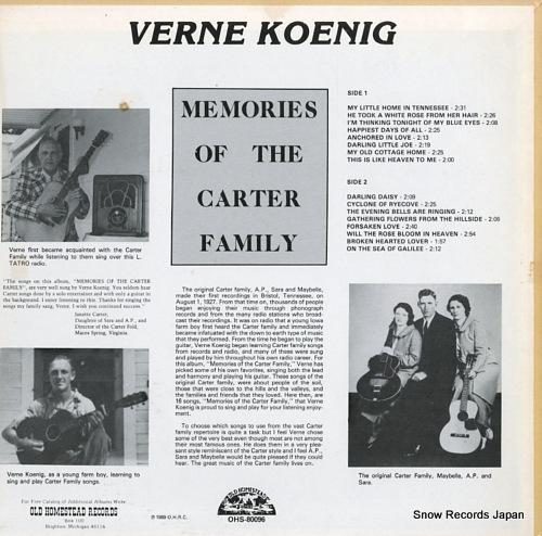 KOENIG, VERNE memories of the carter family OHS-80096 - back cover