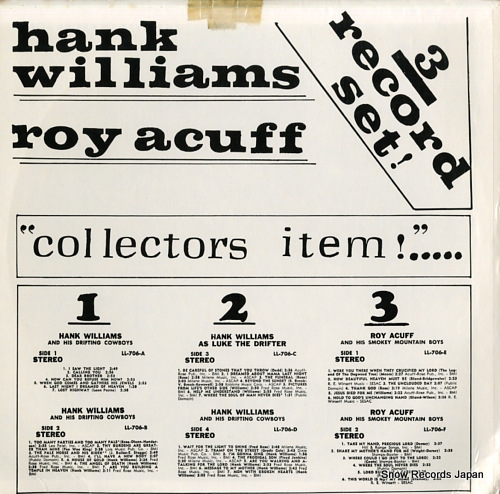 WILLIAMS, HANK / ROY ACUFF collectors item!...3record set! LL-706 - back cover