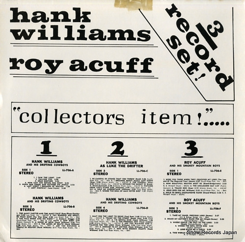 WILLIAMS, HANK / ROY ACUFF collectors item!...3record set! LL-706 - front cover