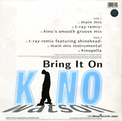 WATSON, KINO bring it on 4478272 - back cover