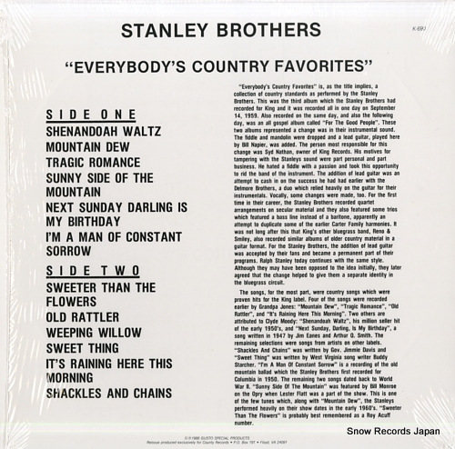 STANLEY BROTHERS, THE everyboy's country favorites K-690 - back cover
