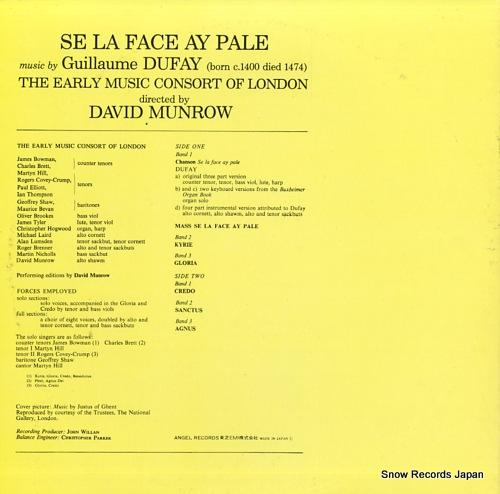 MUNROW, DAVID dufay; mass-se la face ay pale EAC-80301 - back cover