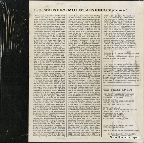 J.E. MAINER'S MOUNTAINEERS j.e. mainer's crazy mountaineers volume1 OT106 - back cover