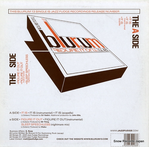 BLU RUM 13 figure it out / it is JFR026 - back cover