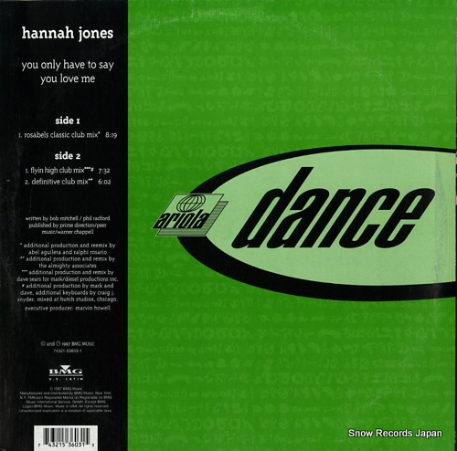 JONES, HANNAH you only have to say you love me 74321-53603-1 - back cover