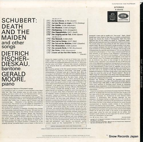 FISCHER-DIESKAU, DIETRICH schubert; death and the maiden & other songs S36342 - back cover