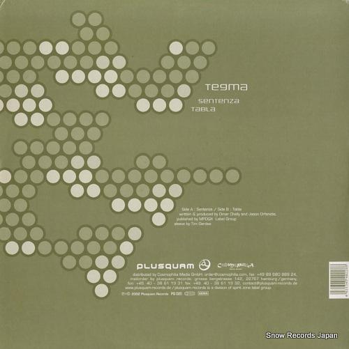 TEGMA sentenza / tabla PQ020 - back cover
