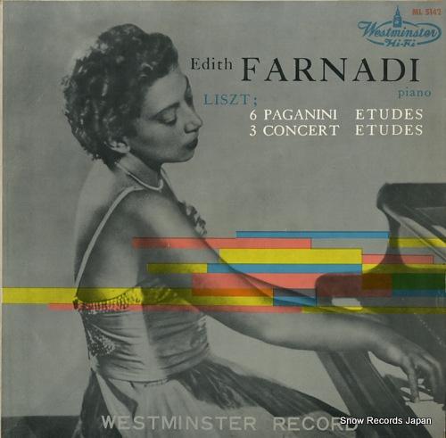 FARNADI, EDITH liszt; 6 paganini etudes / 3 concert etudes ML5142 - front cover