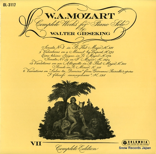GIESEKING, WALTER mozart; complete works for piano solo / volume vii OL-3117 - front cover