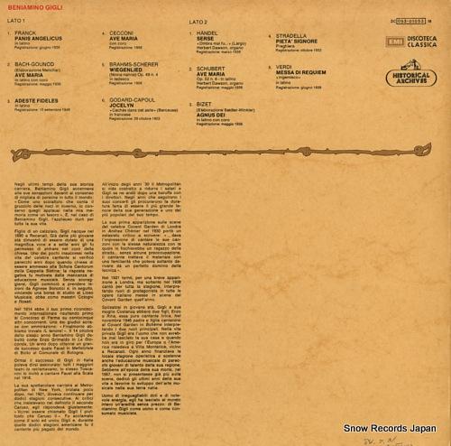 GIGLI, BENIAMINO beniamino gieli 3C053-01053M - back cover