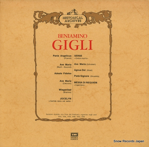 GIGLI, BENIAMINO beniamino gieli 3C053-01053M - front cover