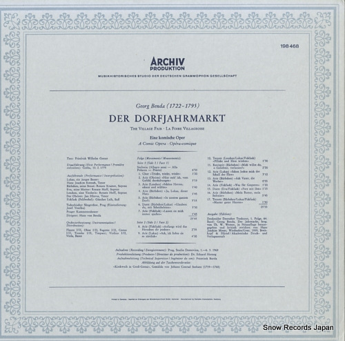 BENDA, HANS VON benda; der dorfjahrmarkf 198468 - back cover