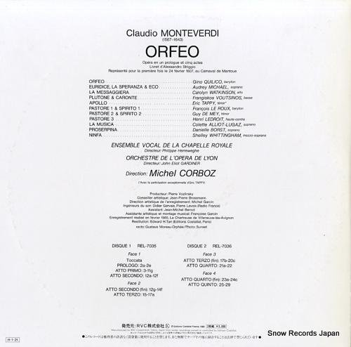 CORBOZ, MICHEL monteverdi; orfeo REL-7035-36 - back cover