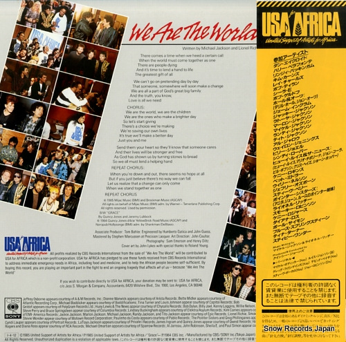 USA FOR AFRICA we are the world 12AP3021 - back cover