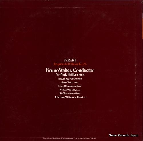 WALTER, BRUNO mozart; requiem 15AC662 - back cover