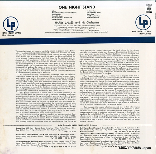 JAMES, HARRY one night stand 20AP1445 - back cover