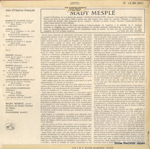 MESPLE, MADY volume 1 airs d'operas francais 2C063-10411 - back cover