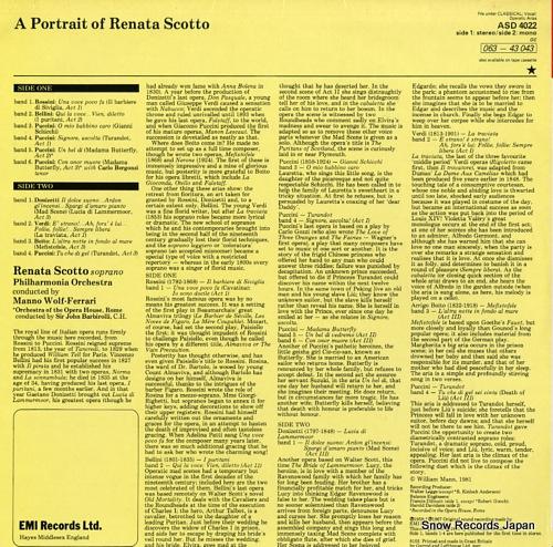 SCOTTO, RENATA a portrait of renata scotto ASD4022 - back cover