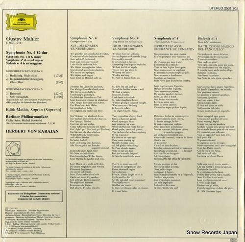 KARAJAN, HERBERT VON mahler; 4.symphonie 2531205 - back cover