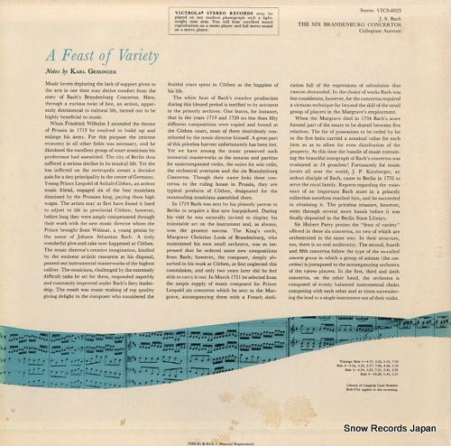 AUREUM, COLLEGIUM bach; the six brandenburg concertos VICS-6023 - back cover