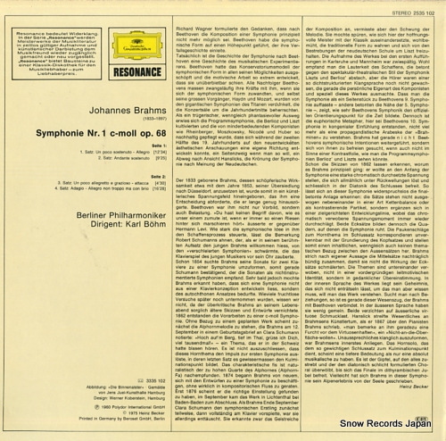 BOHM, KARL brahms; symphonie nr.1 2535102 - back cover