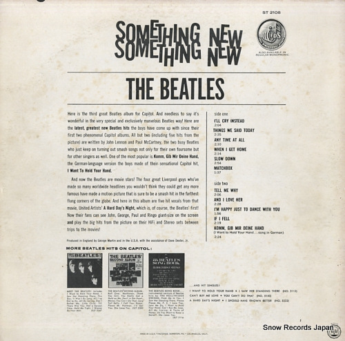 BEATLES, THE something new ST2108 - back cover