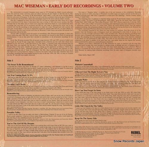 WISEMAN, MAC early dot recordings vol.2 CCS109 - back cover