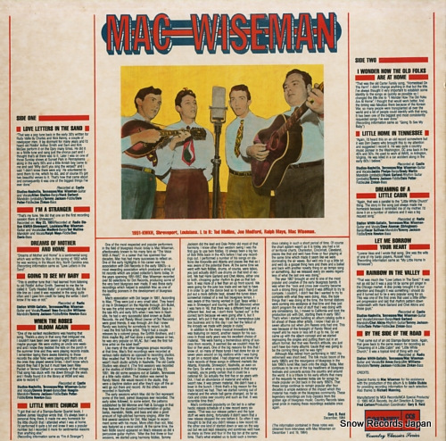 WISEMAN, MAC early dot recordings volume 1 CCS-108/MSM-35058 - back cover