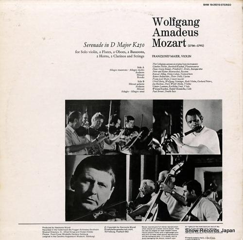 MAIER, FRANZJOSEF mozart; haffner serenade in d major k250 BHM19-29310 - back cover