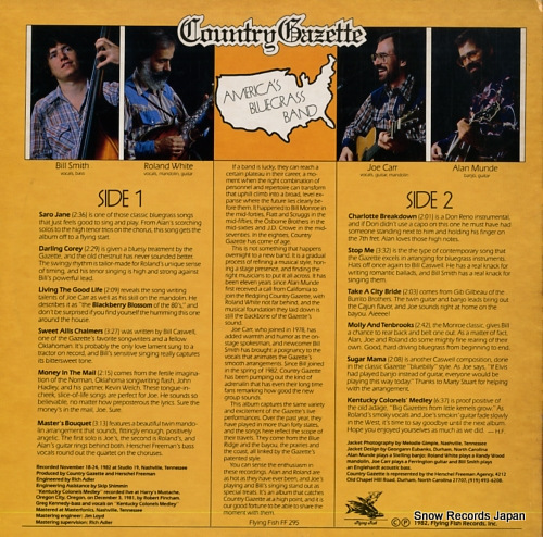 COUNTRY GAZETTE america's bluegrass band FF-295 - back cover