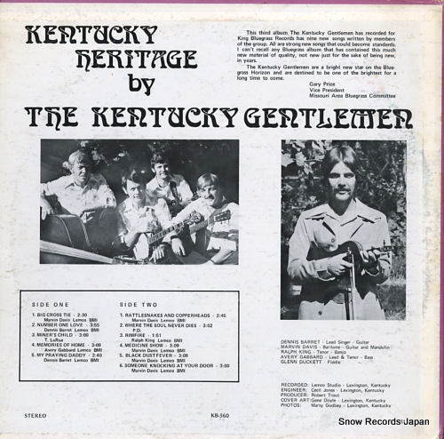 KENTUCKY GENTLEMEN, THE kentucky heritage KB-560 - back cover