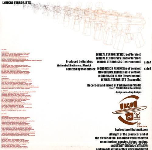 SUBSTANTIAL AND L UNIVERSE lyrical terrorists HOR-008 - back cover