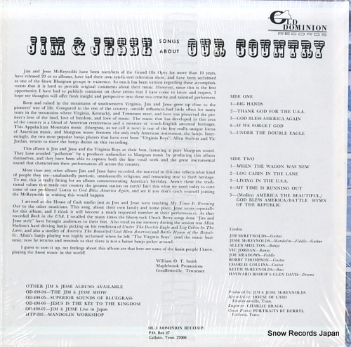 JIM AND JESSE AND THE VIRGINIA BOYS songs about our country OD-498-08 - back cover