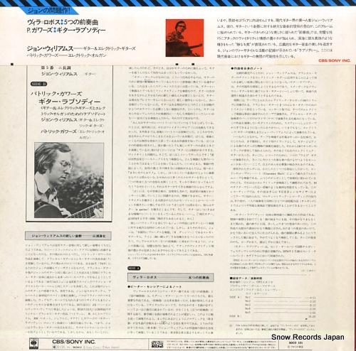 WILLIAMS, JOHN villa-lobos; five preludes SOCO101 - back cover