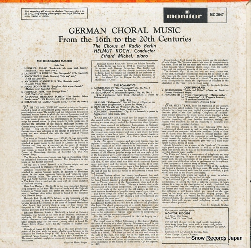 KOCH, HELMUT german choral music: from the 16th to the 20th centuries MC2047 - back cover