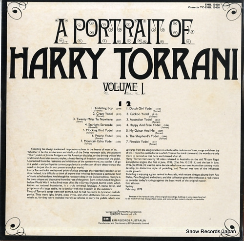 TORRANI, HARRY a portrait of harry torrani volume 1 EMB-10400 - back cover