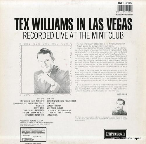 WILLIAMS, TEX tex williams in las vegas HAT3105 - back cover