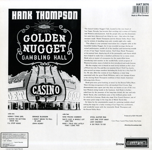 THOMPSON, HANK hank thompson at the golden nugget HAT3076 - back cover