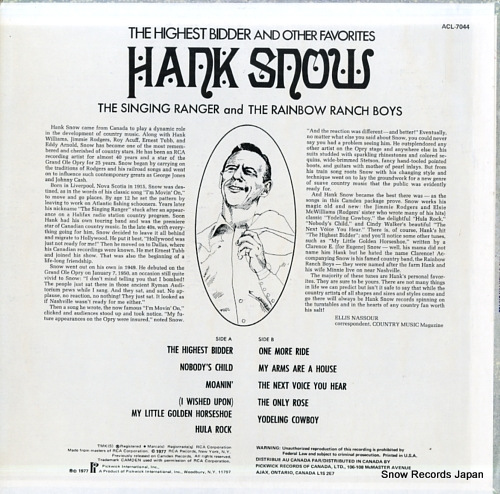 SNOW, HANK the highest bidder and other favorites ACL-7044 - back cover