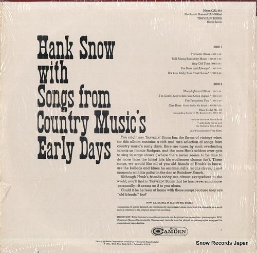 SNOW, HANK travelin' blues CAS964(E) - back cover