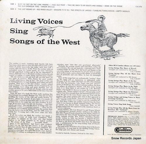 LIVING VOICES sing songs of the west CAL-674 - back cover