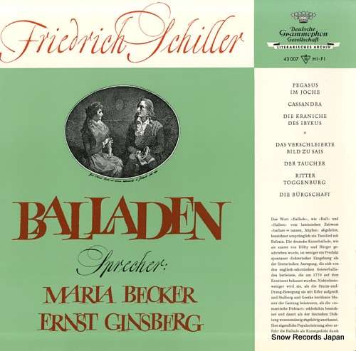 V/A friedrich schiller; balladen 43007LPMS - front cover