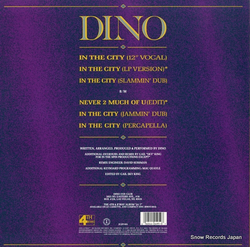 DINO in the city BWAY495 - back cover