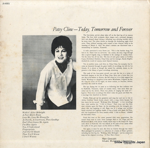 CLINE, PATSY today, tomorrow & forever JS-6001 - back cover