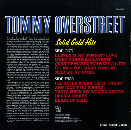 OVERSTREET, TOMMY solid gold hits BDL1063 - back cover