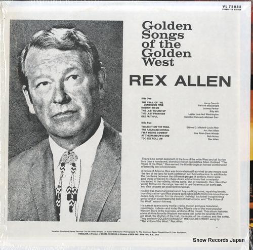 ALLEN, REX golden songs of the golden west VL73885 - back cover