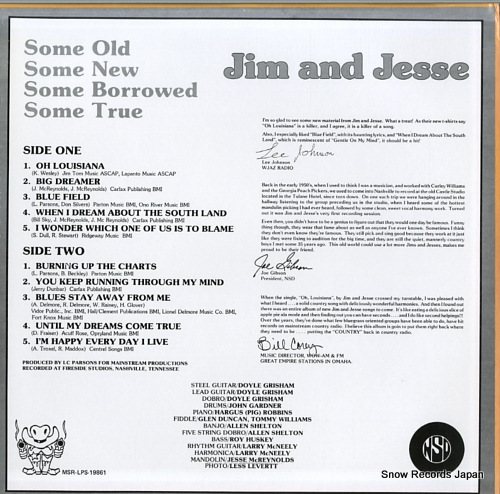 JIM AND JESSE some old, some new, some borrowed, some true MSR-LPS-19861 - back cover