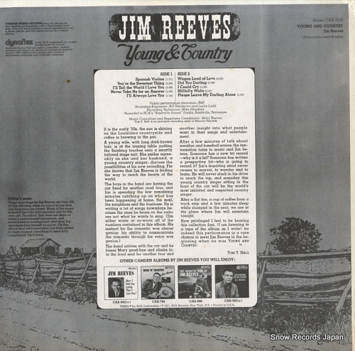 REEVES, JIM young and country CAS-2532 - back cover