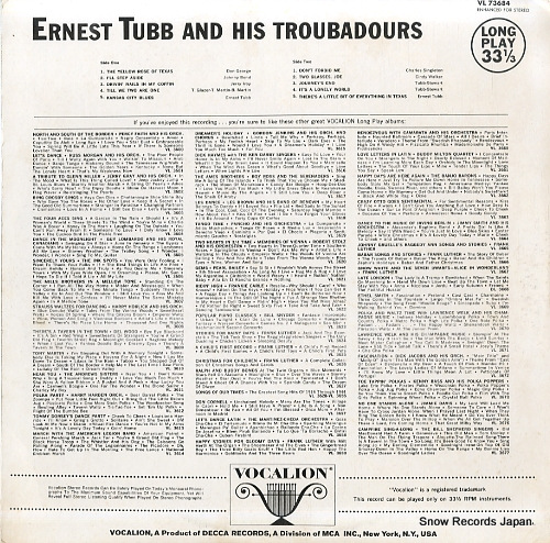 TUBB, ERNEST, AND HIS TEXAS TROUBADOURS ernest tubb and his texas troubadours VL73684 - back cover