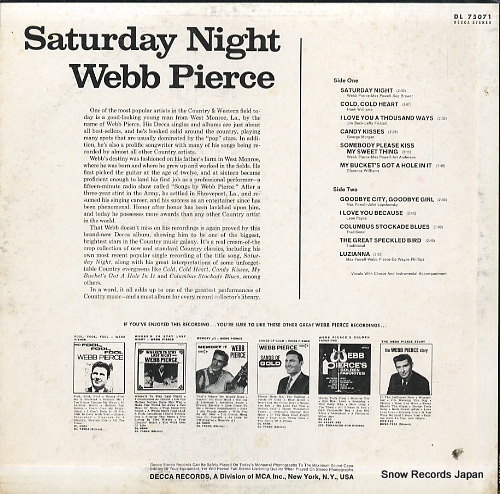 PIERCE, WEBB saturday night DL75071 - back cover